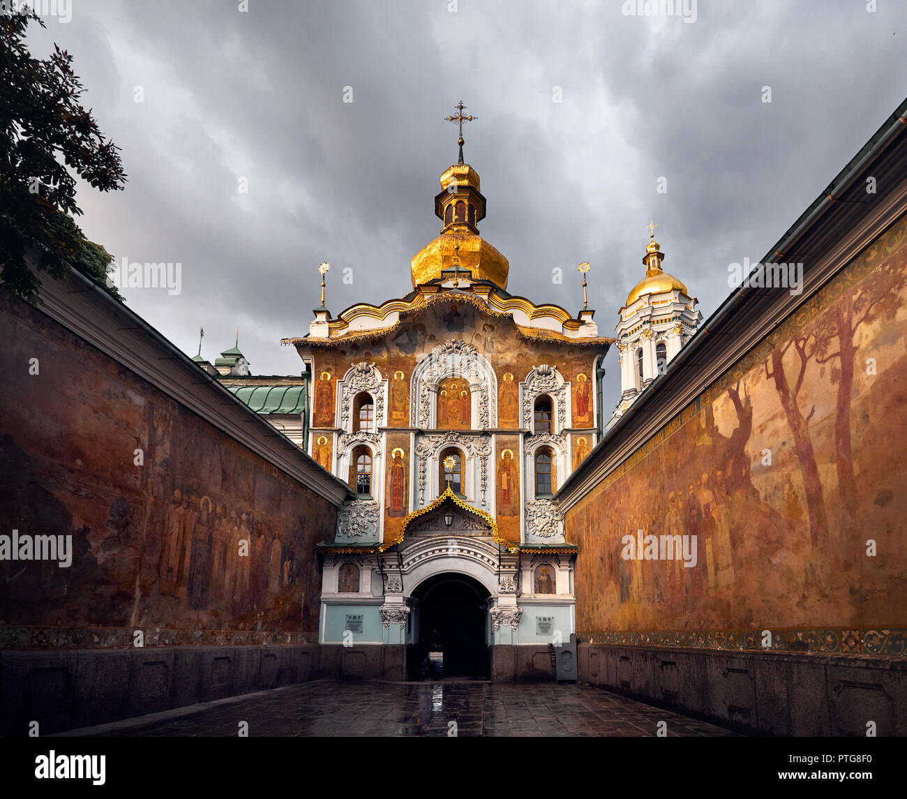 Old Church Gate of Kiev Pechersk Lavra. Old historical architecture in Kiev, Ukraine - Stock Image