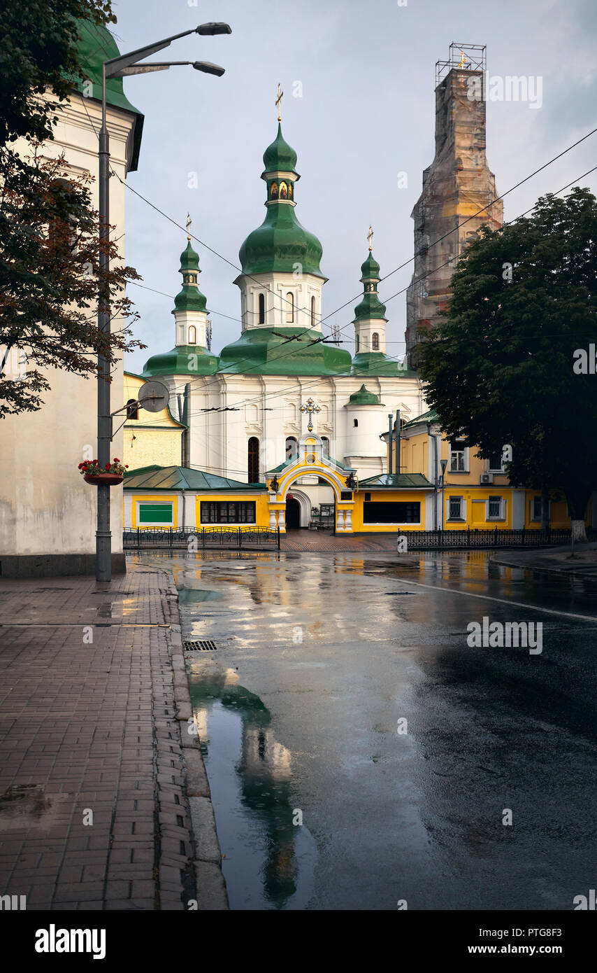 Old Church on the rainy street of Kiev, Ukraine - Stock Image