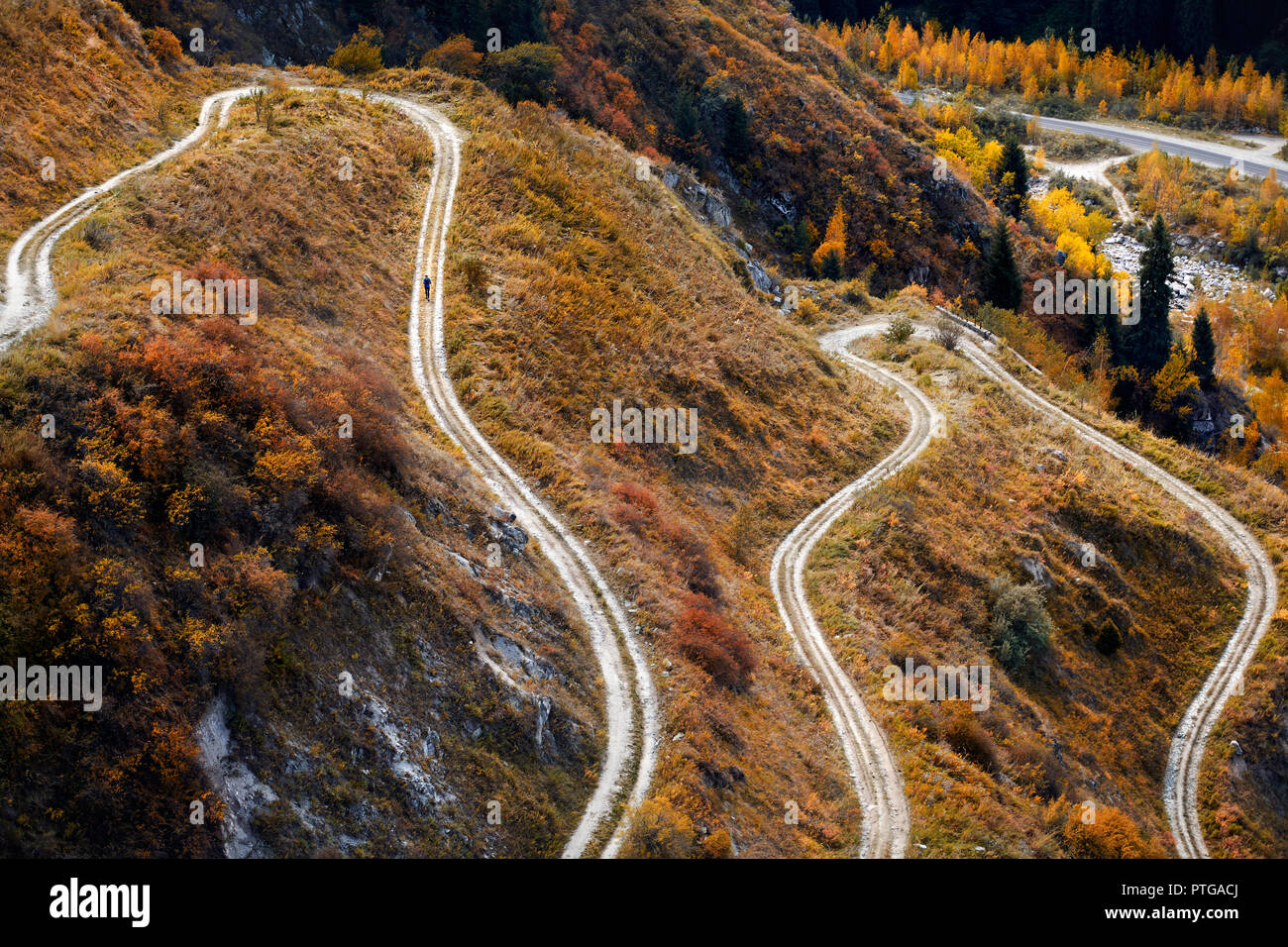 Aerial view of runner athlete running on the serpentine road in the mountains - Stock Image