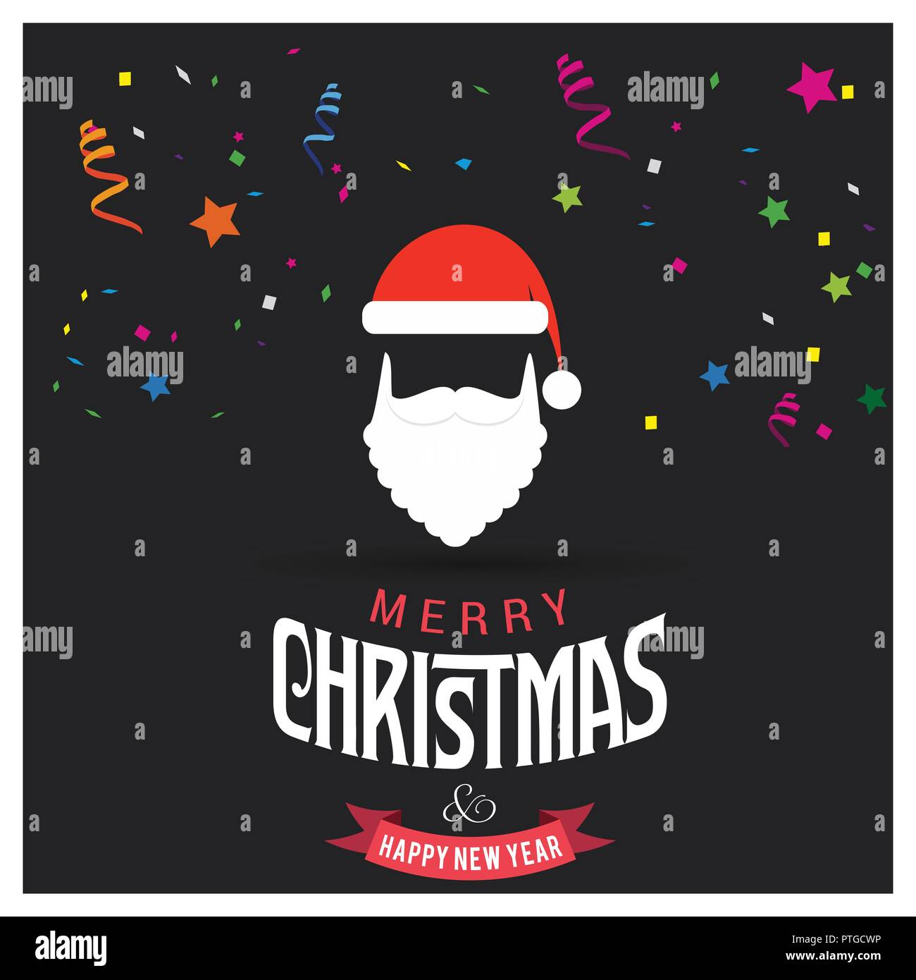 Merry Christmas Card Design With Creative Typography And Dark