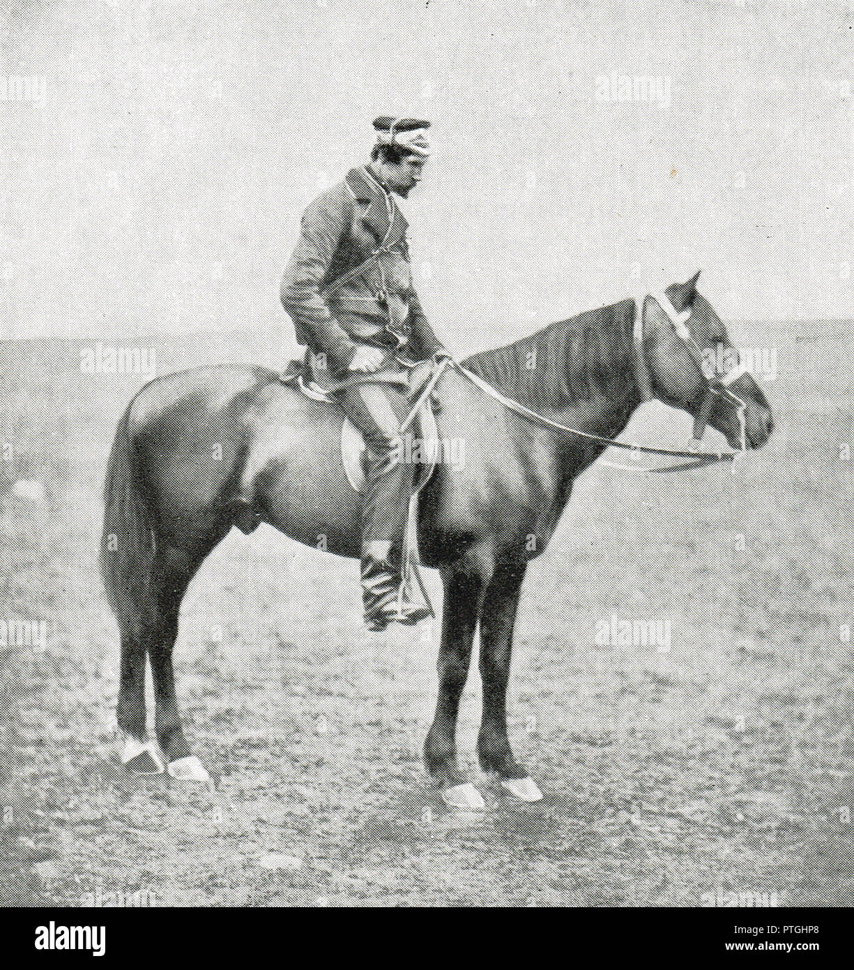 General The Honourable Sir George Cathcart, on horseback during the Crimean War, by Roger Fenton.  Cathcart was killed during the Battle of Inkerman, 5 November 1854 - Stock Image