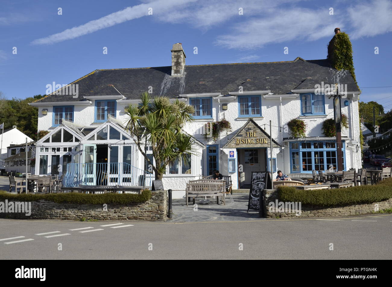 The Rising Sun Inn at St Mawes in Cornwall - Stock Image