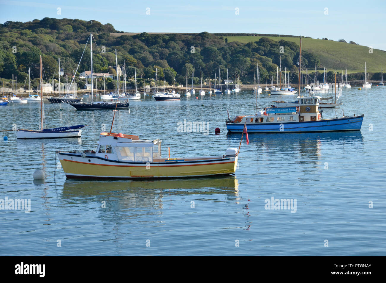 Boats and ferries on the River Fal at Falmouth in Cornwall, England Stock Photo