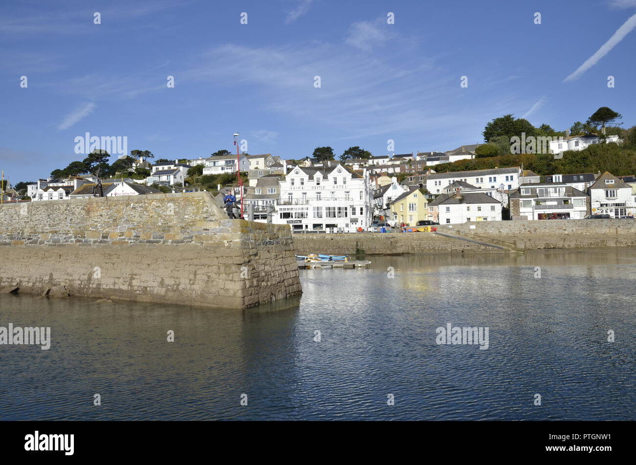 The picturesque harbour and frontage at the small village of St Mawes on the River Fal in Cornwall Stock Photo