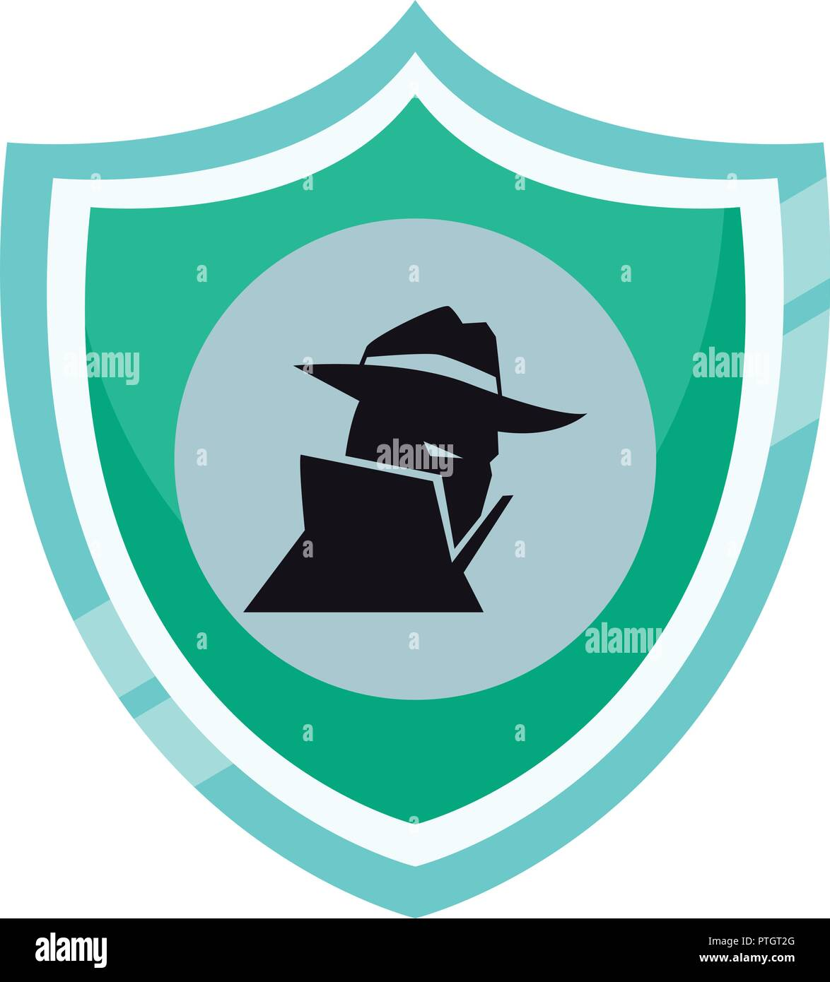 Spyware on shield - Stock Image
