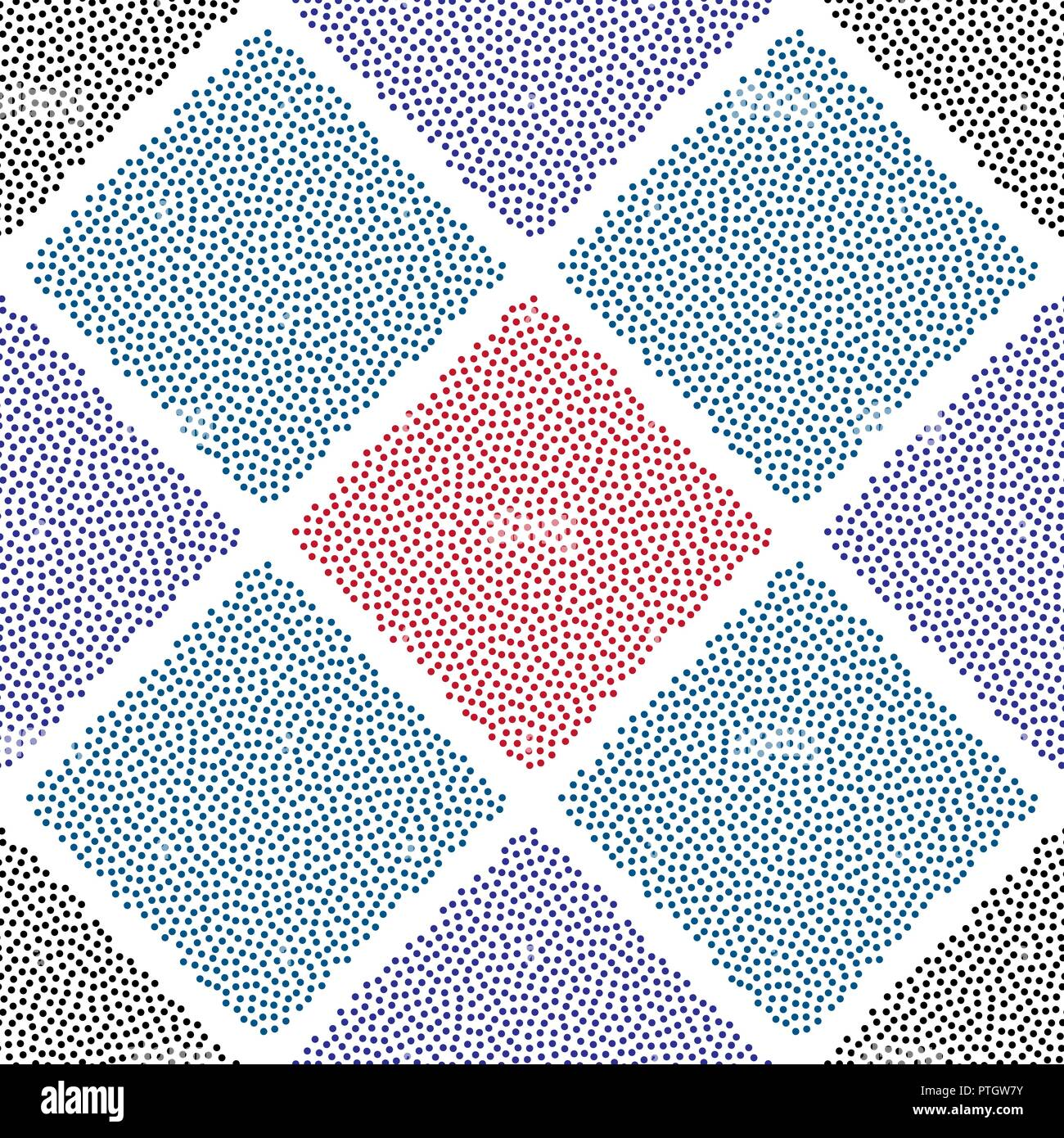 Dotted Squares Vector Seamless Pattern. Abstract Dots Cell