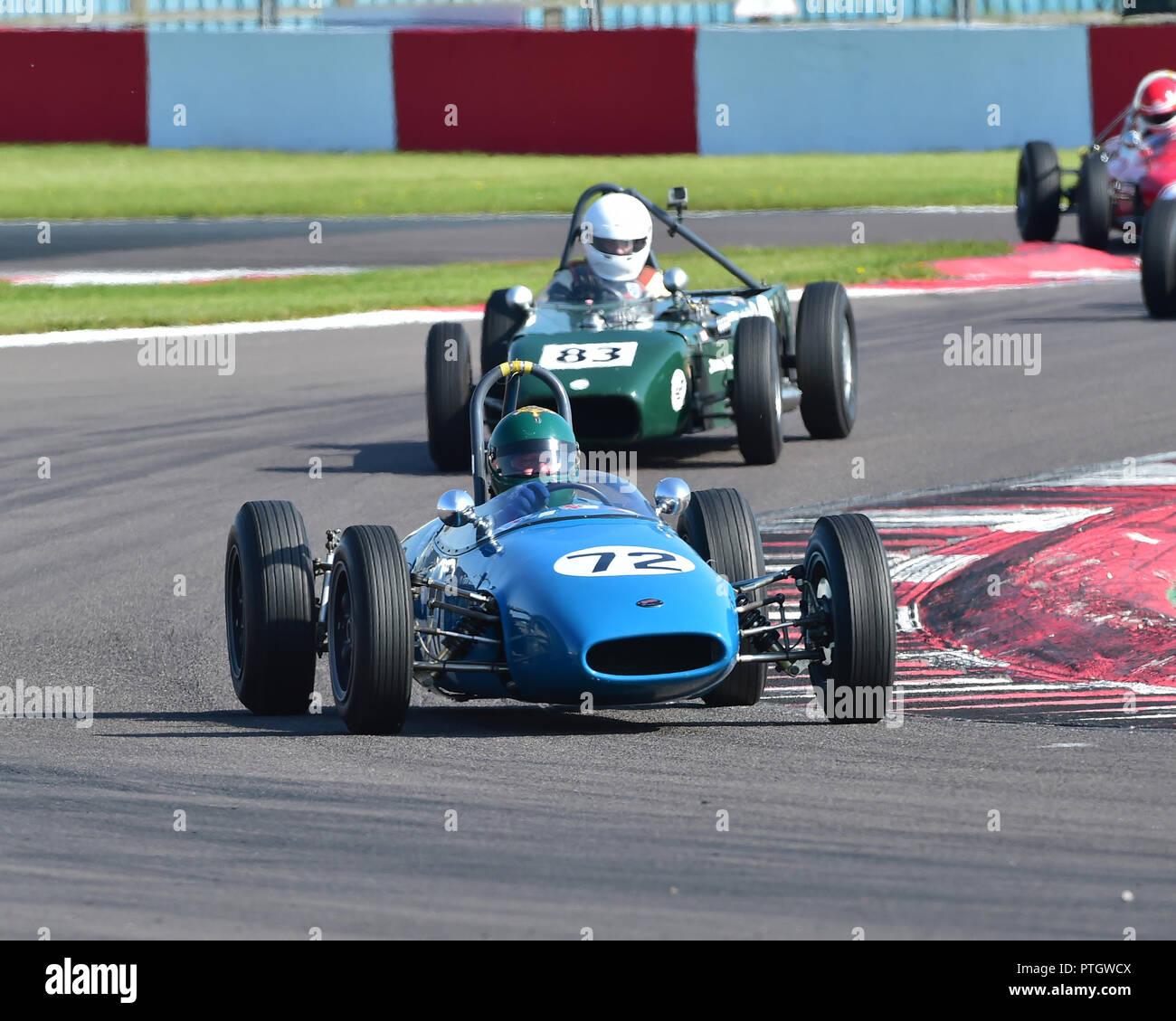 Chris Chilcott, Repco Brabham BT2, FJHRA, HSCC, Championship for pre-64 Front and Rear Engined Formula Juniors, Donington Historic Festival, 2018, mot - Stock Image
