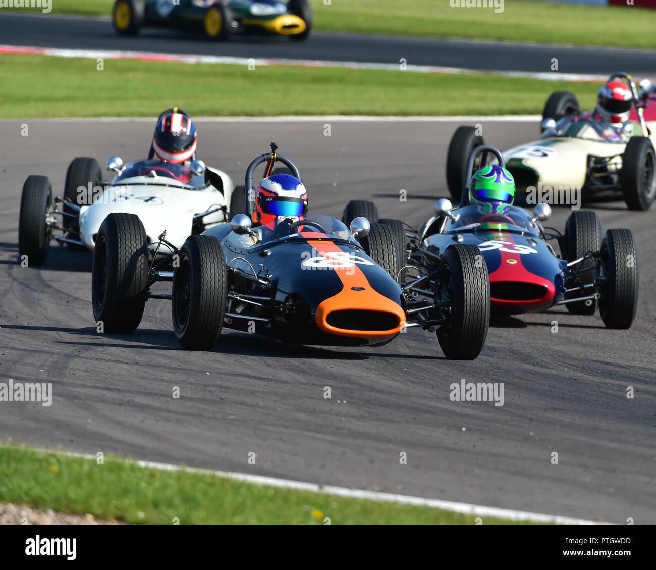 Cameron Jackson, Brabham BT2, FJHRA, HSCC, Championship for pre-64 Front and Rear Engined Formula Juniors, Donington Historic Festival, 2018, motor ra - Stock Image
