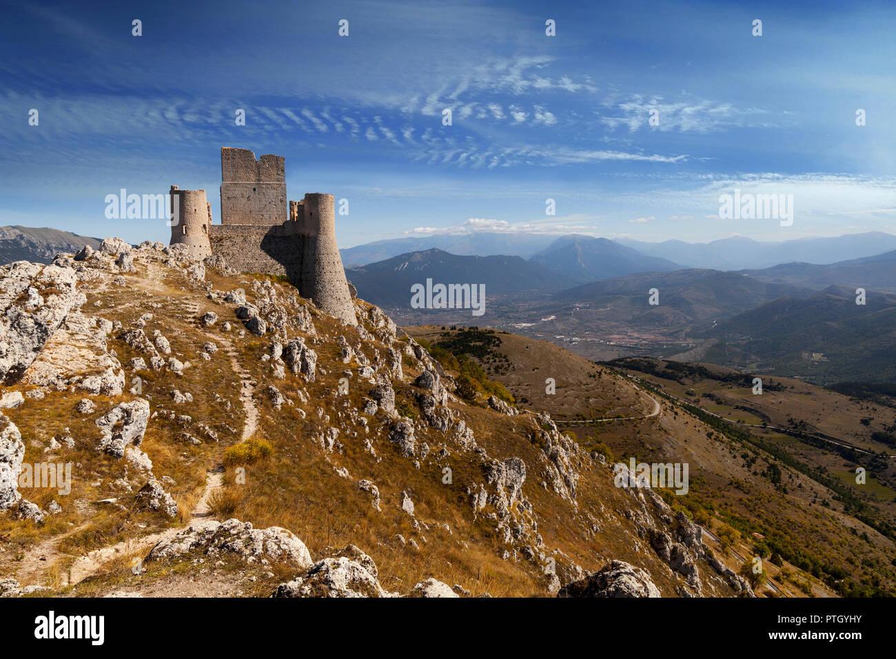The 10th Century Rocca Calascio, a mountaintop fortress near the hilltown of Santo Stefano di Sessanio in the Province of L'Aquila in Abruzzo, Italy.  - Stock Image