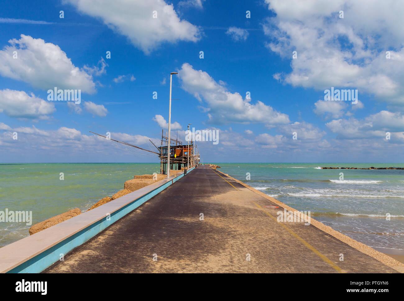 Trabocchi, San Vito Ciento, Adriatic Sea coast  in the province of Chieti in the Abruzzo region of central Italy - Stock Image