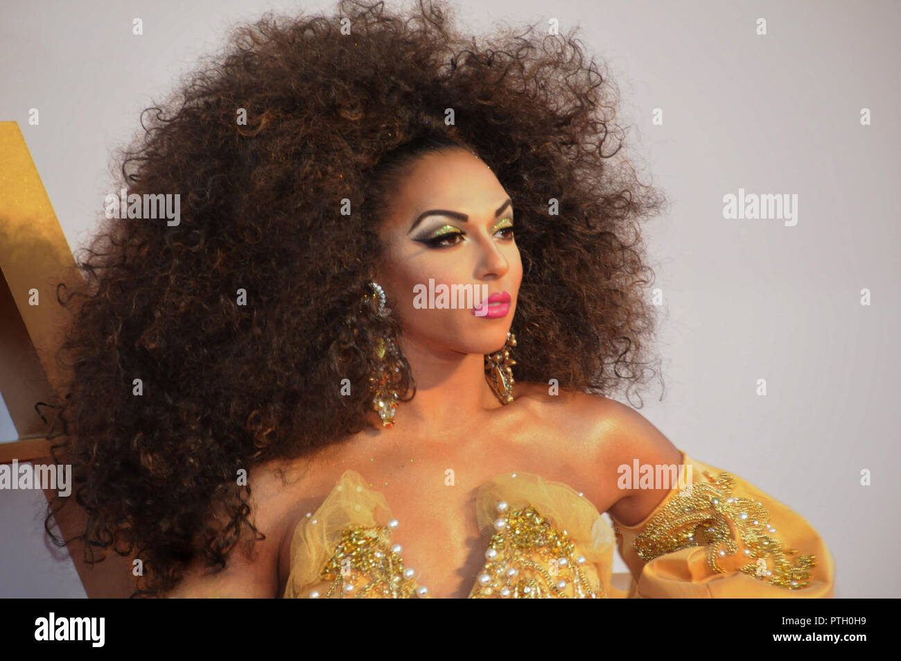 American Gay Drag Queen, Shangela, on the red carpet of the London film premiere, of A Star is Born. - Stock Image