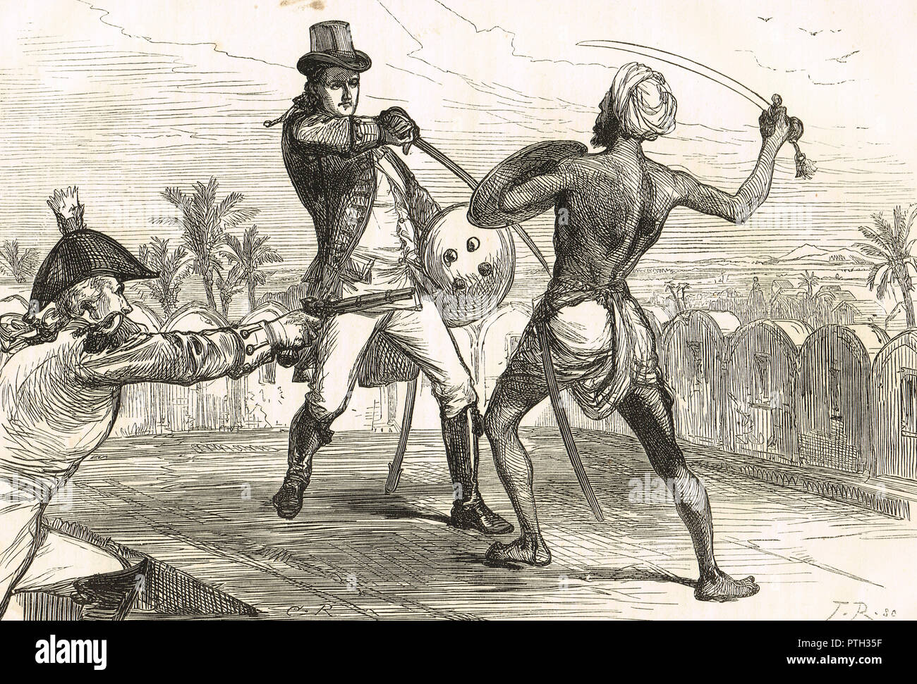 Hon. Frederick shore a member of the Bengal Civil service, fighting a Goojur in hand to hand combat, during the Rebellion by Gujjars of Saharanpur, October 1824 - Stock Image