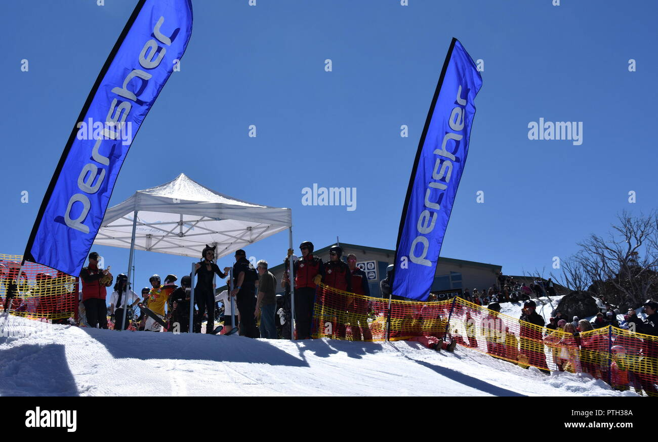 Perisher, Australia - Sept 30, 2018. People enjoy Pond Skimming. The pond-skim is an end of season ritual at many resorts across the country, a fun wa Stock Photo