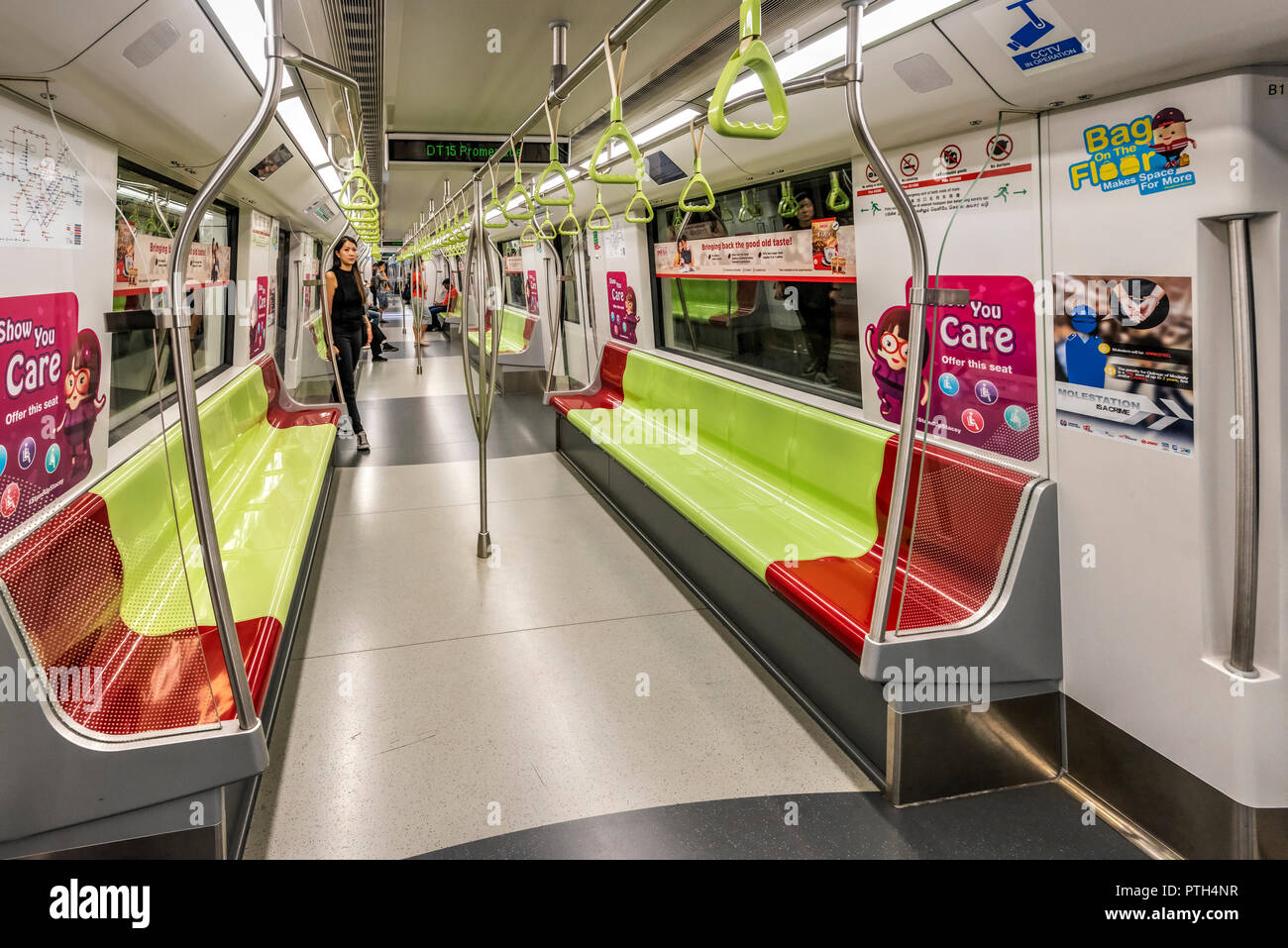 Interior view of a Singapore MRT Mass Rapid Transit Carriage, Singapore Stock Photo