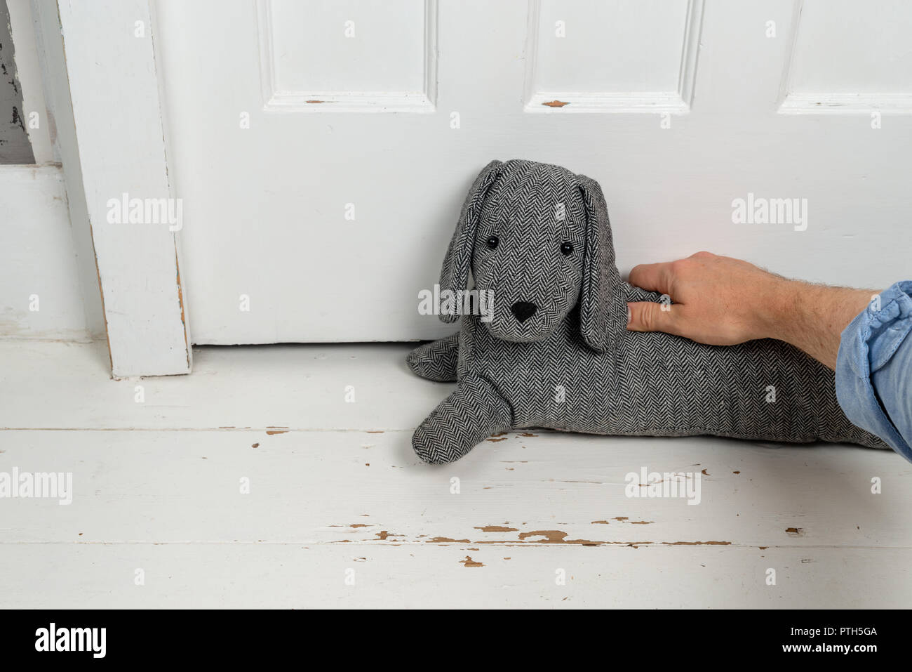 A man places a dog shaped draught excluder in front of a door. - Stock Image
