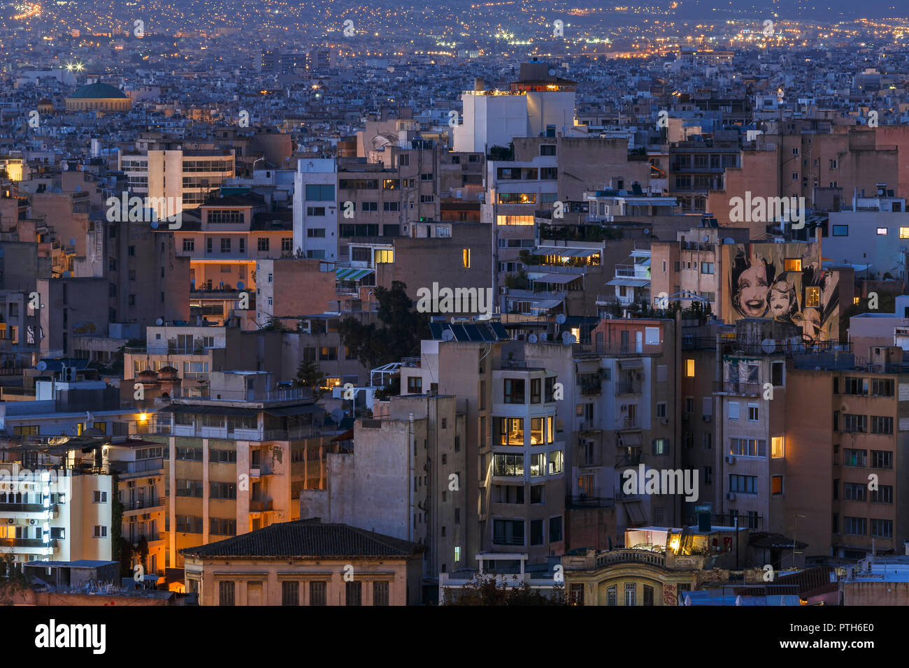 Athens, Greece - October 07, 2018: Psirri neighbourhood in central Athens as seen from the Areopagus hill, Greece. - Stock Image