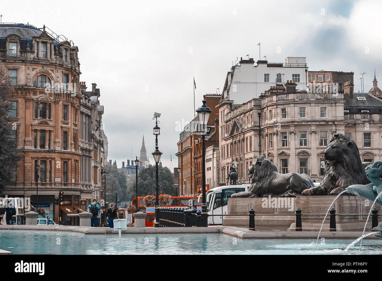 London, UK, September 20, 2014, a rainy morning. Lions in Trafalgar Square. Stock Photo