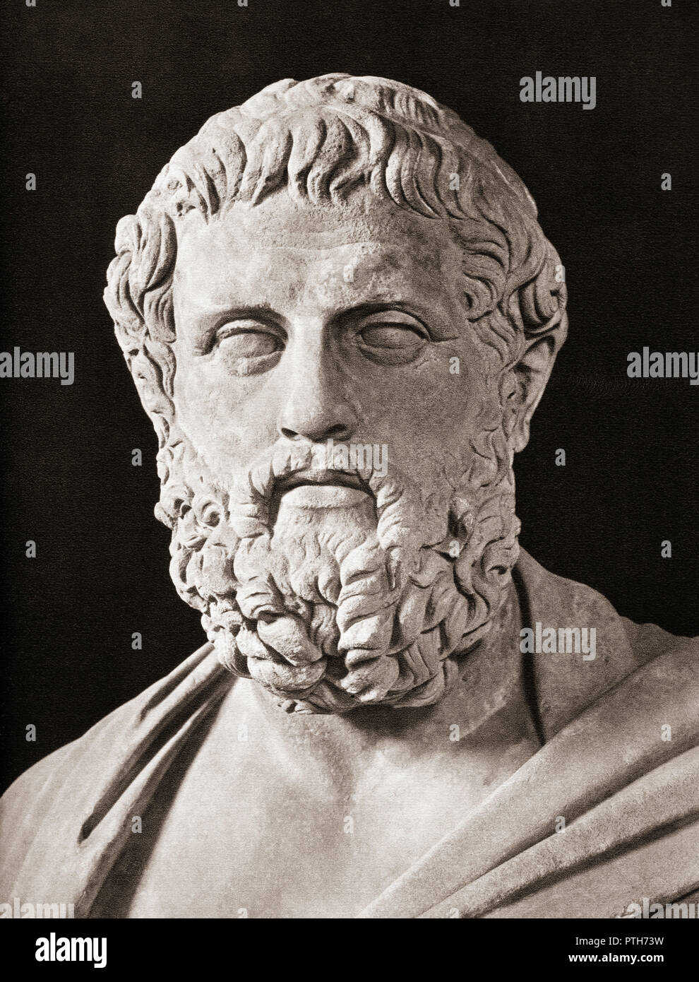 Bust of Sophocles,  c. 497/6 – 406/5 BC. Ancient Greek tragedian. - Stock Image