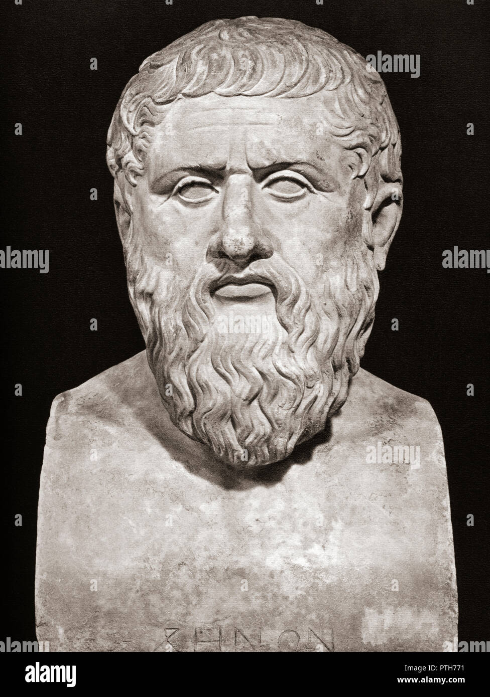 Bust of Plato, 428/427 or 424/423 – 348/347 BC.  Ancient Greek philosopher and the founder of the Academy in Athens. - Stock Image