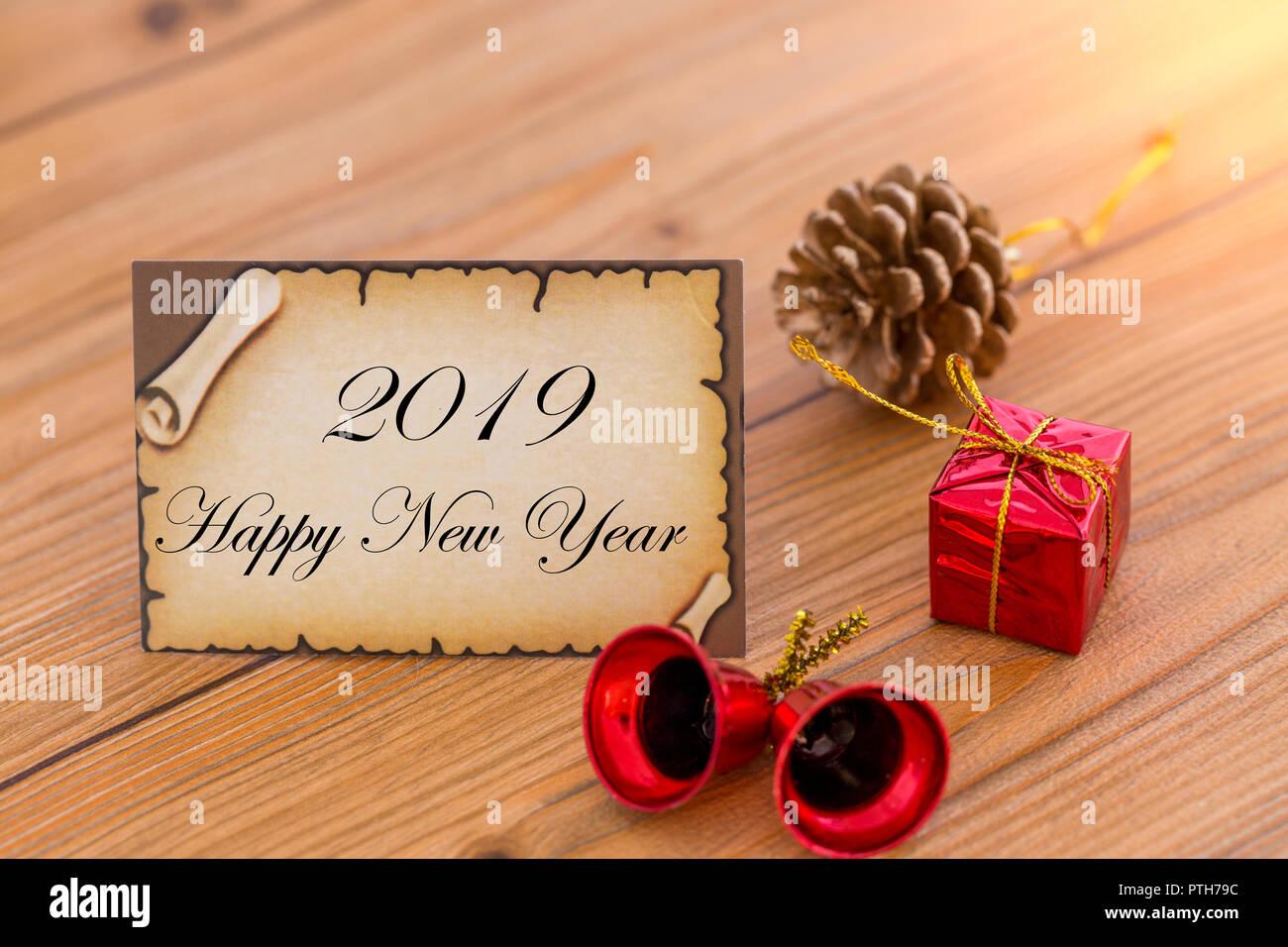 greeting card for new year or christmas with christmas decorations stock image