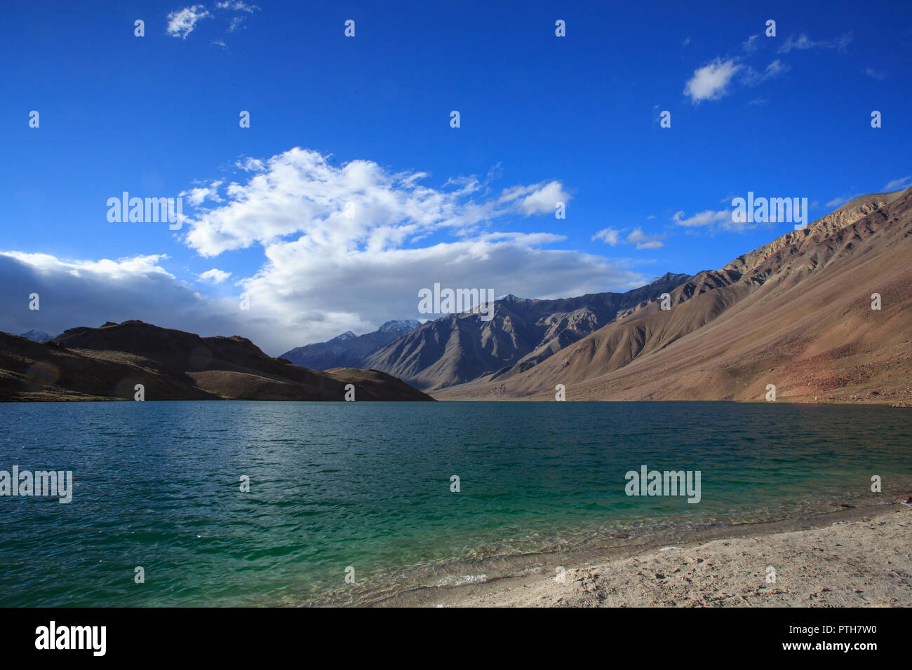 Chandratal, a high altitude lake in Himachal Pradesh, India - Stock Image