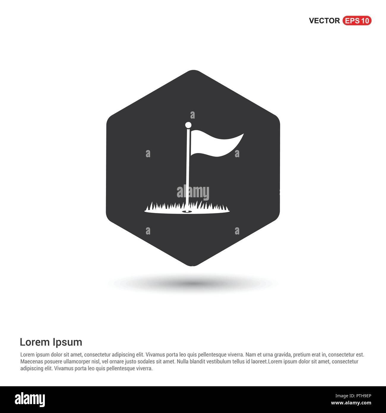 Golf Flag Icon Hexa White Back...
