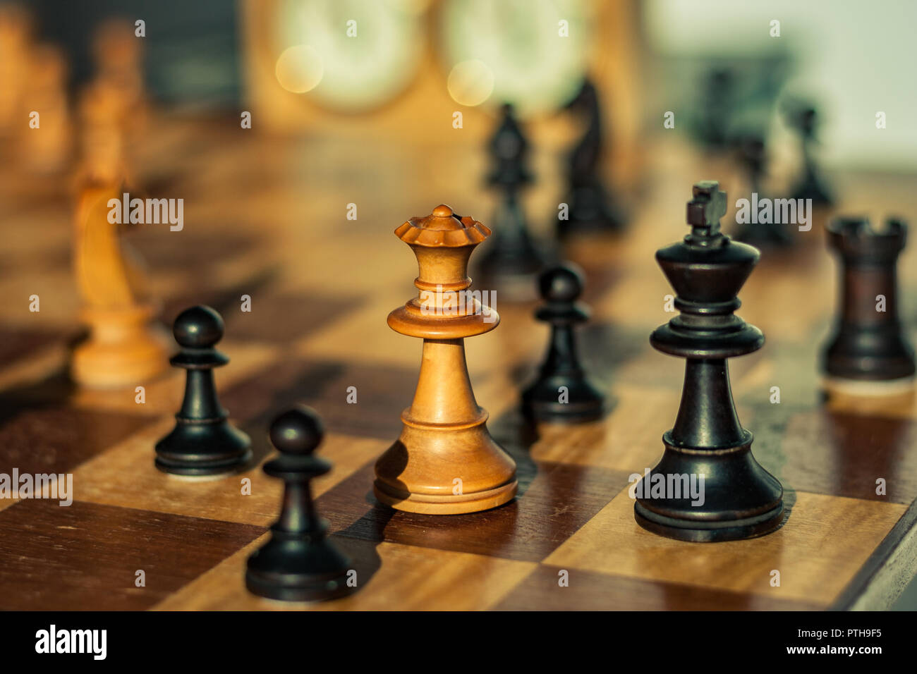 The White Queen gives Checkmate in a Game of Chess - Stock Image