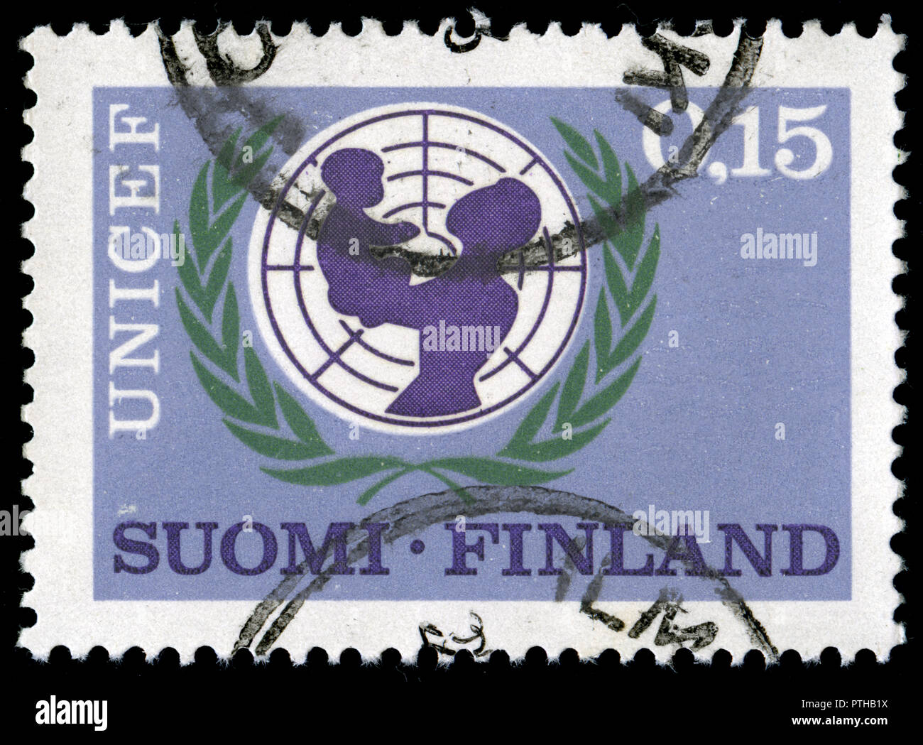 Postmarked stamp from Finland in the 20 Years Child Aid by UNICEF series issued in 1966 - Stock Image