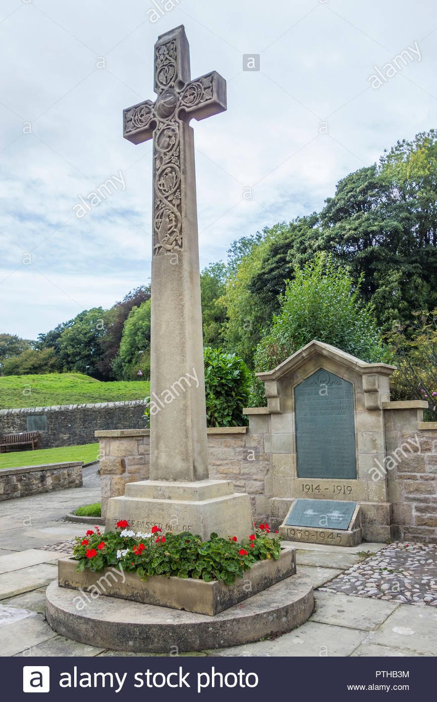 The war memorial at Halton, near Lancaster, Lancashire UK, after some cleaning and restoration to commemorate the 100th year of the end of WW1 - Stock Image