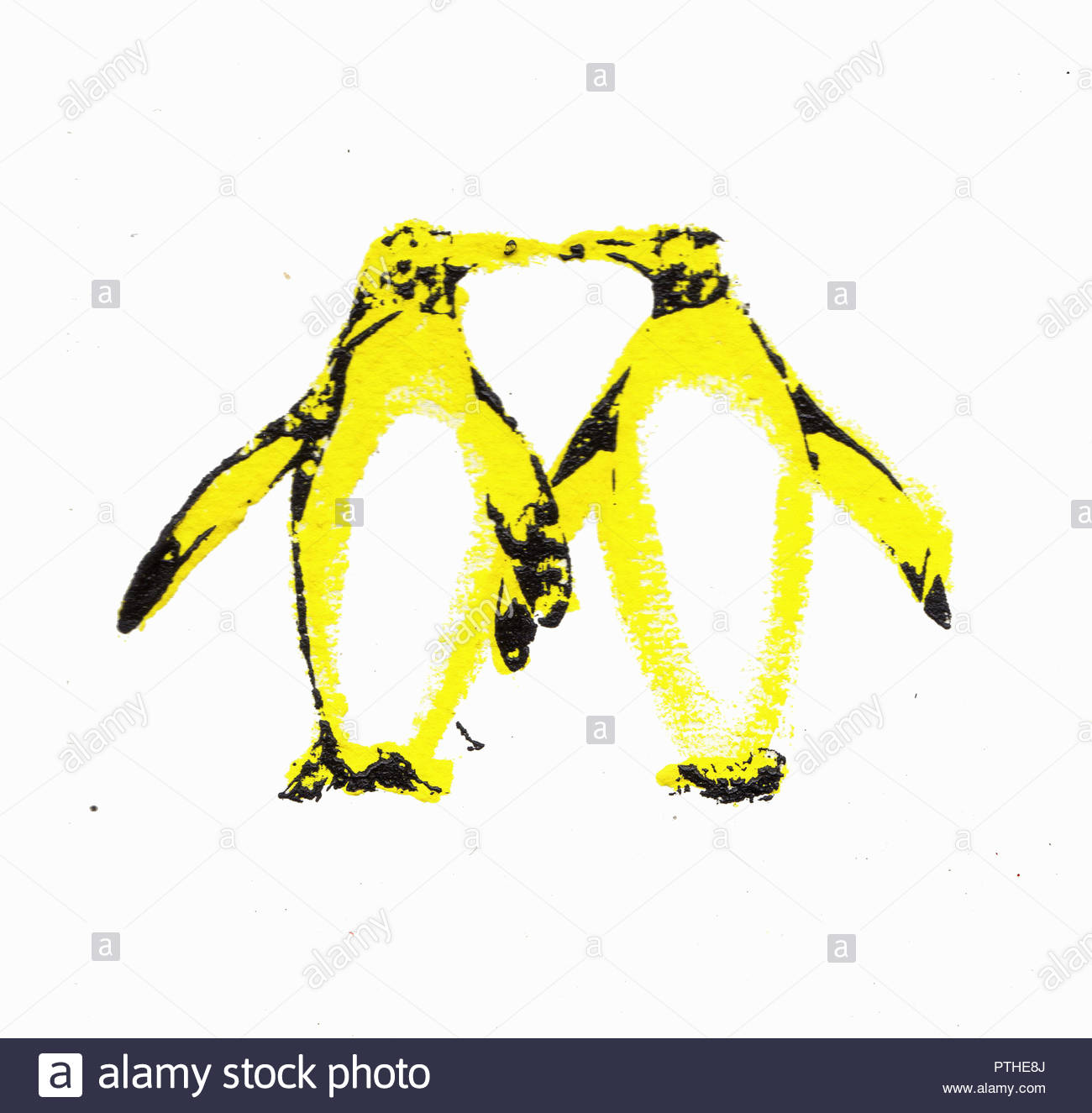 Two penguins kissing with necks forming heart shape - Stock Image
