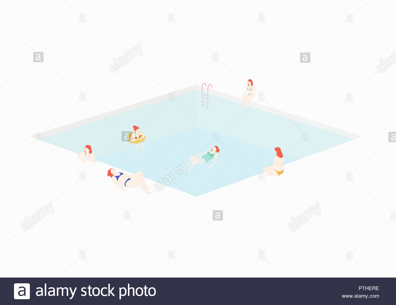 Woman relaxing in and around swimming pool - Stock Image