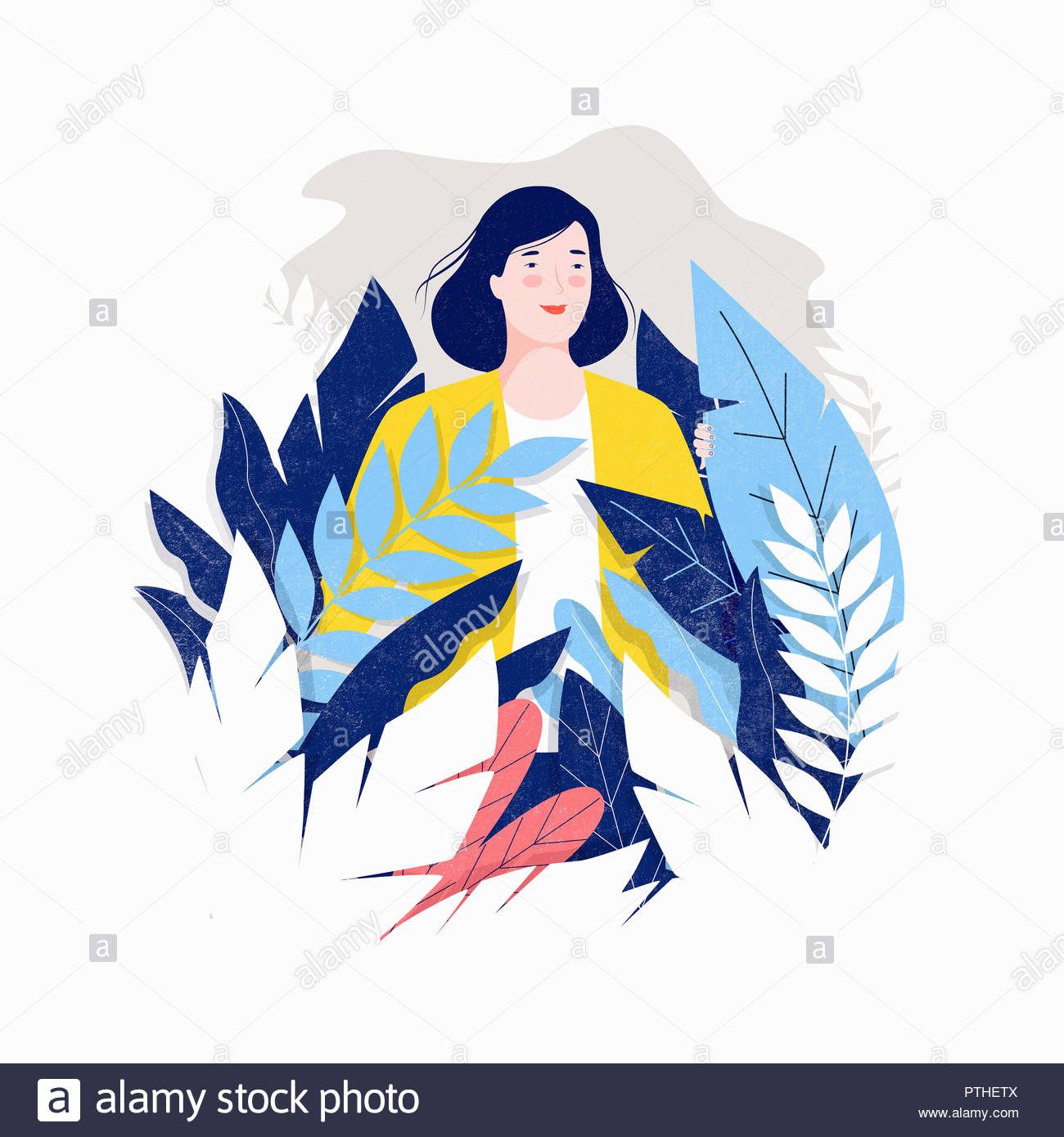 Woman exploring among leaves - Stock Image