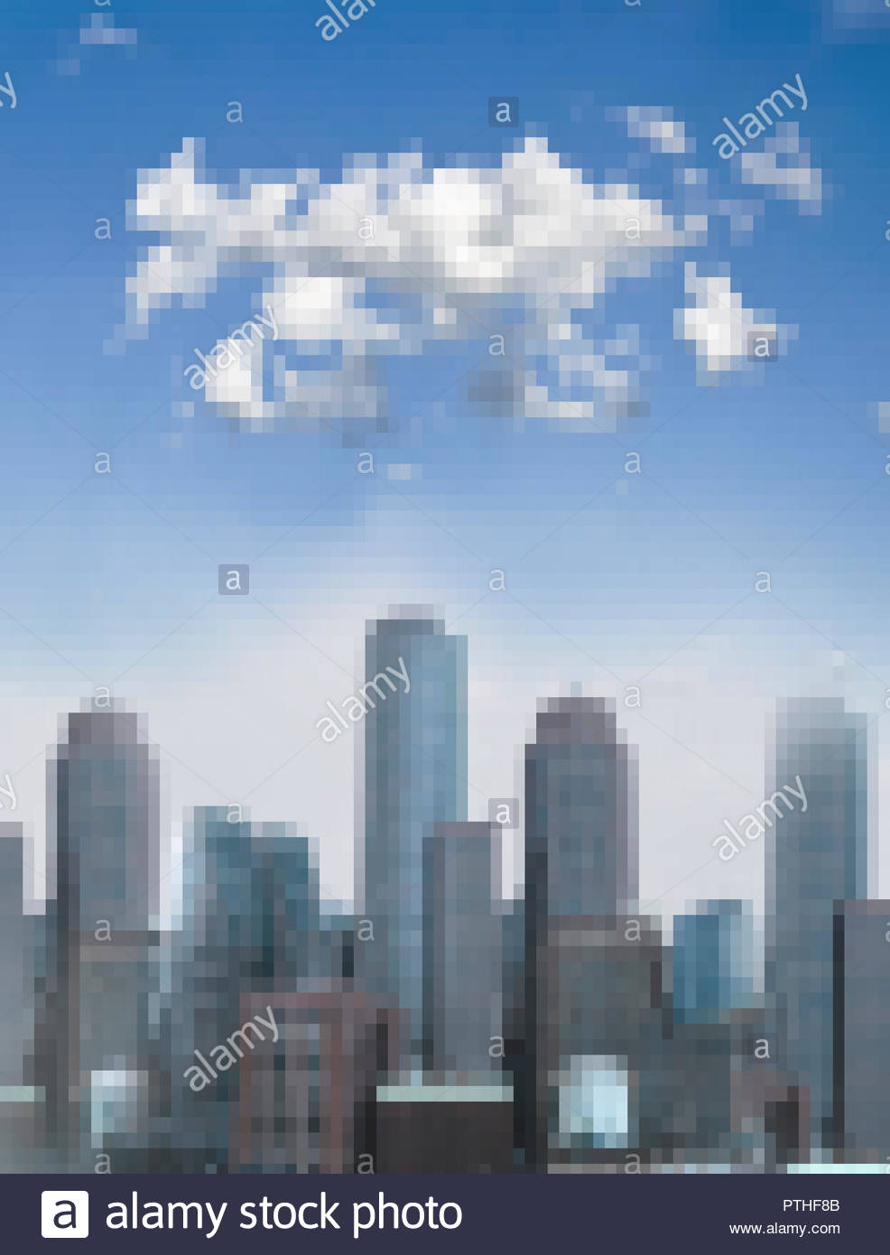 Pixellated cityscape on sunny day - Stock Image