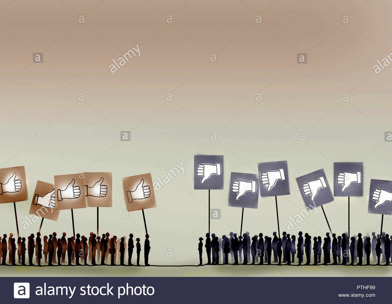 Crowds holding placards with opposing opinions - Stock Image