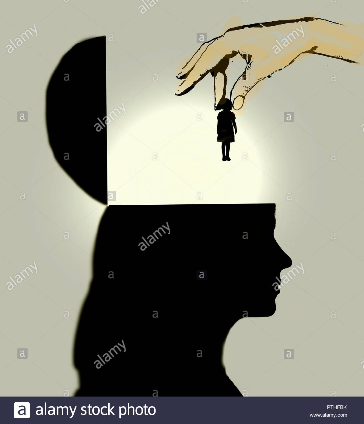 Hand dropping little girl inside of adult woman's head - Stock Image