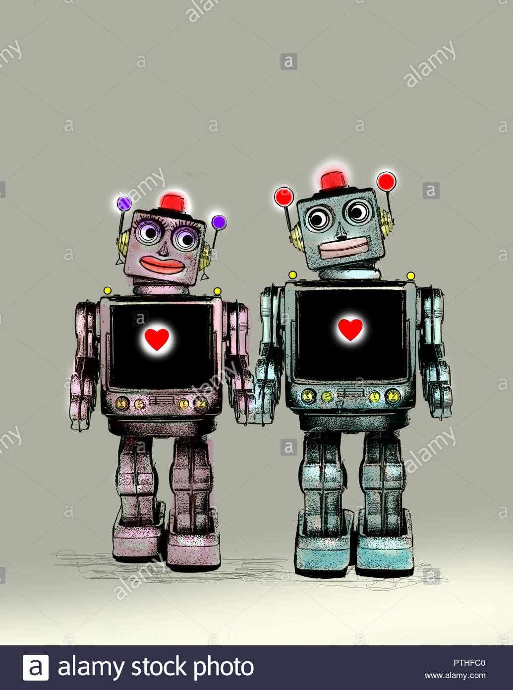 Two robots falling in love - Stock Image