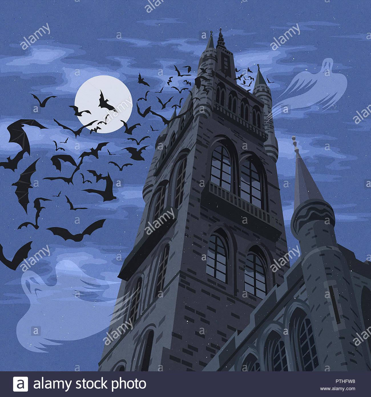 Spooky haunted castle - Stock Image