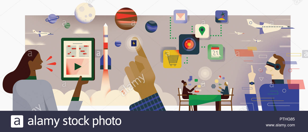 Montage of future technology - Stock Image