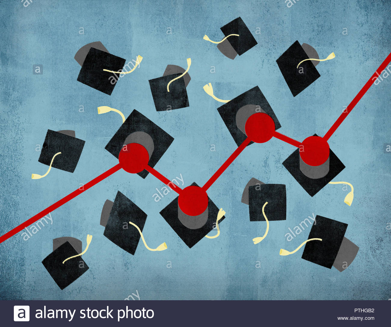 Rising line graph connecting graduation mortar boards Stock Photo