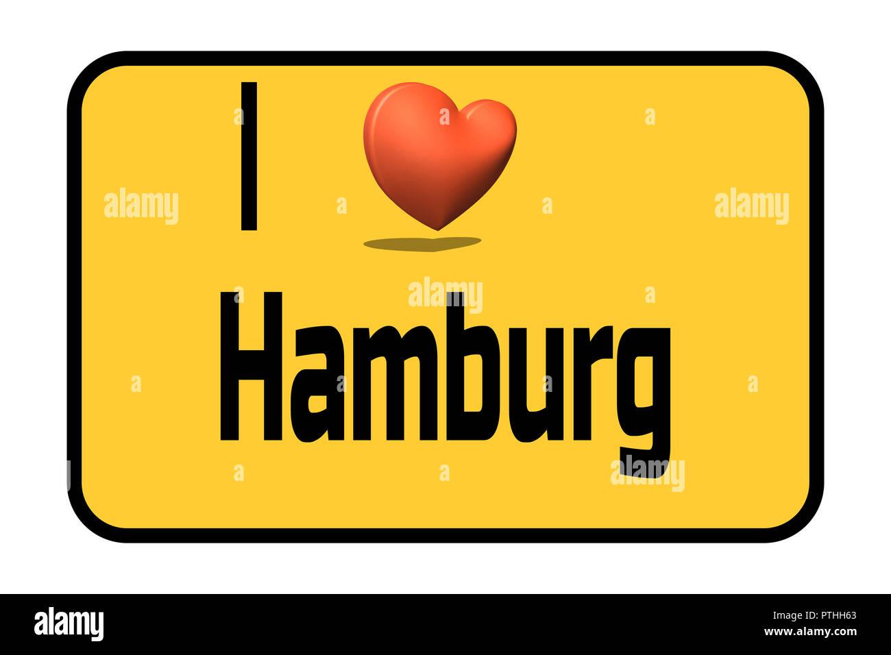 City entrance road sign with caption in english - I love my city Hamburg and heart symbol - Stock Image