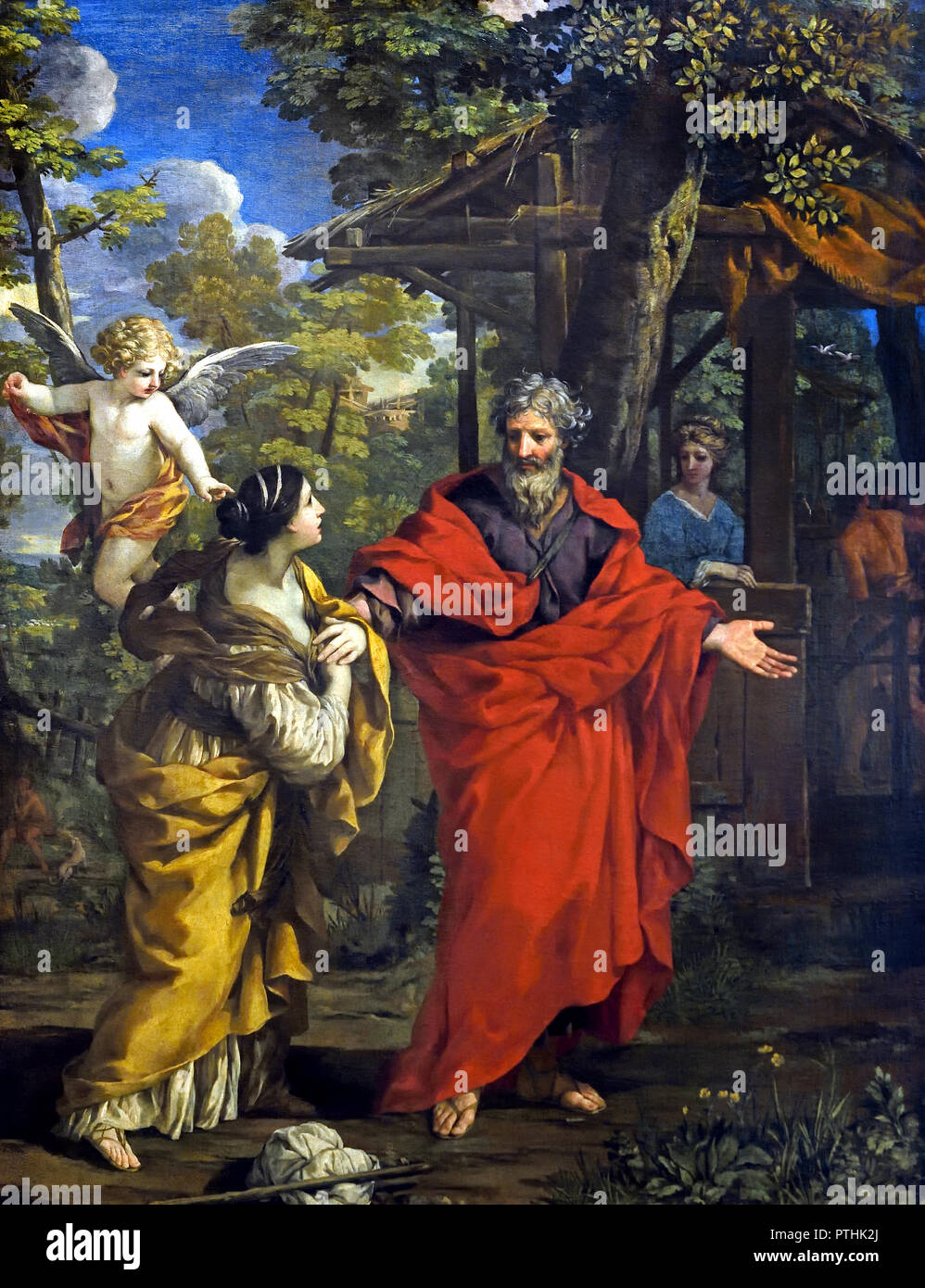 Homecoming of Hagar 1637 Pietro da Cortona 1596 - 1669 Italy Italian ( (Hagar and Ishmael Sent Away - The child grew and was weaned, and on the day Isaac was weaned Abraham held a great feast. But Sarah saw that the son.) - Stock Image