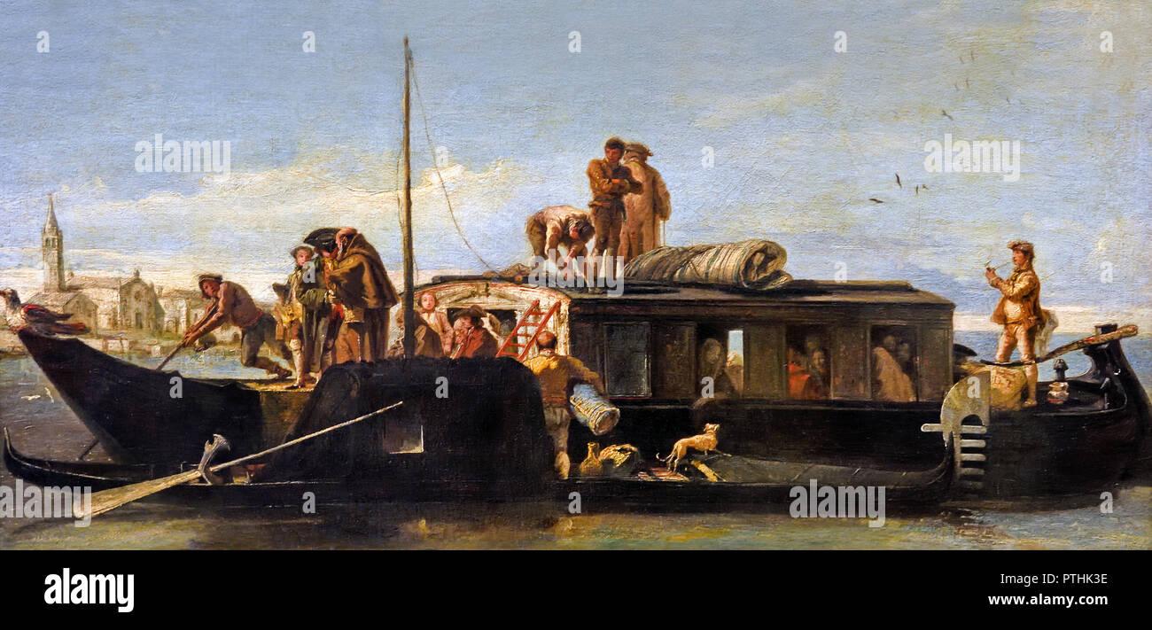 Venezian Post Boat 1760 by Giovanni Domenico Tiepolo Italian Venice 1727–1804 Italy - Stock Image