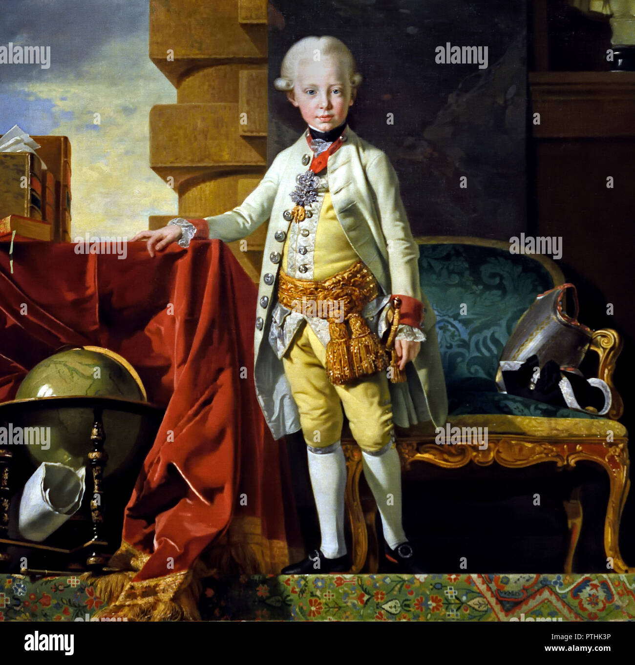 Archduke Francis Joseph Charles,The later Emperor Francis II (1768-1835) at the age of seven 1775  by Johann Zoffani (1733 -1810). ,Francis II, Holy Roman Emperor, King in Germany. - Stock Image