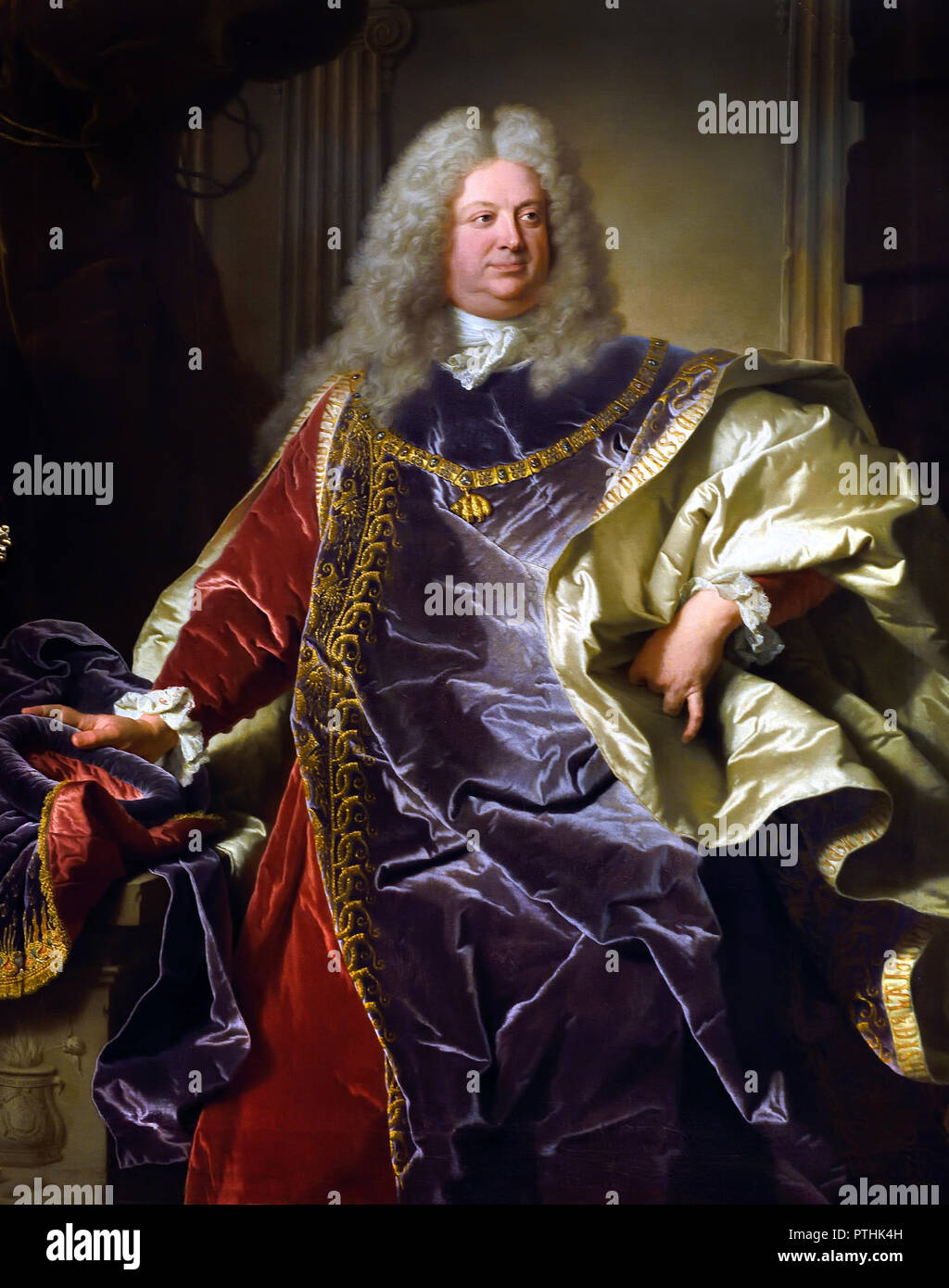 Philipp Ludwig Wenzel Sinzendorf 1671 – 1742 Austrian diplomat and statesman who for nearly four decades served as Court Chancellor responsible of foreign affairs of the Habsburg Monarchy. by painter Hyacinthe Rigaud 1659 - 1743 France French - Stock Image