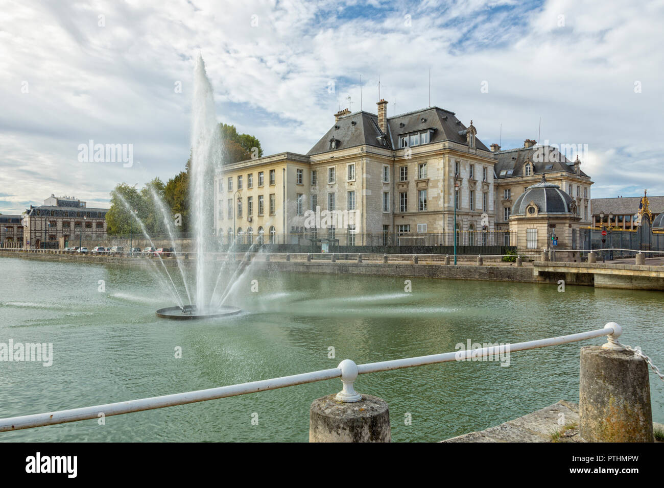 Prefecture building of Aube at Troyeswith the fountain on Canal du Trévois in foreground Stock Photo