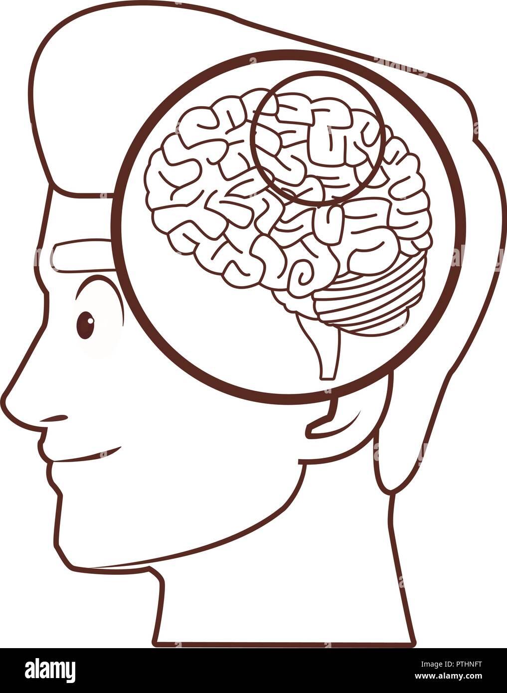Old man alzheimer brain - Stock Vector