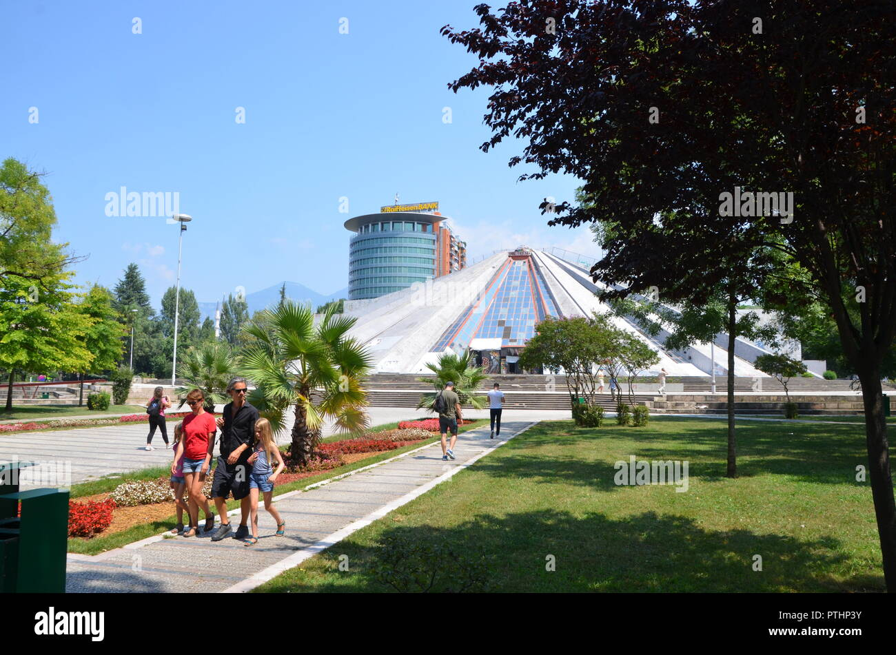 the pyramid in tirana albania former museum to enver hoxha and nightclub built by hoxhas children - Stock Image
