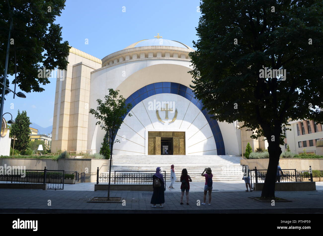 Resurrection Cathedral albanian orthodox church in central tirana albania - Stock Image