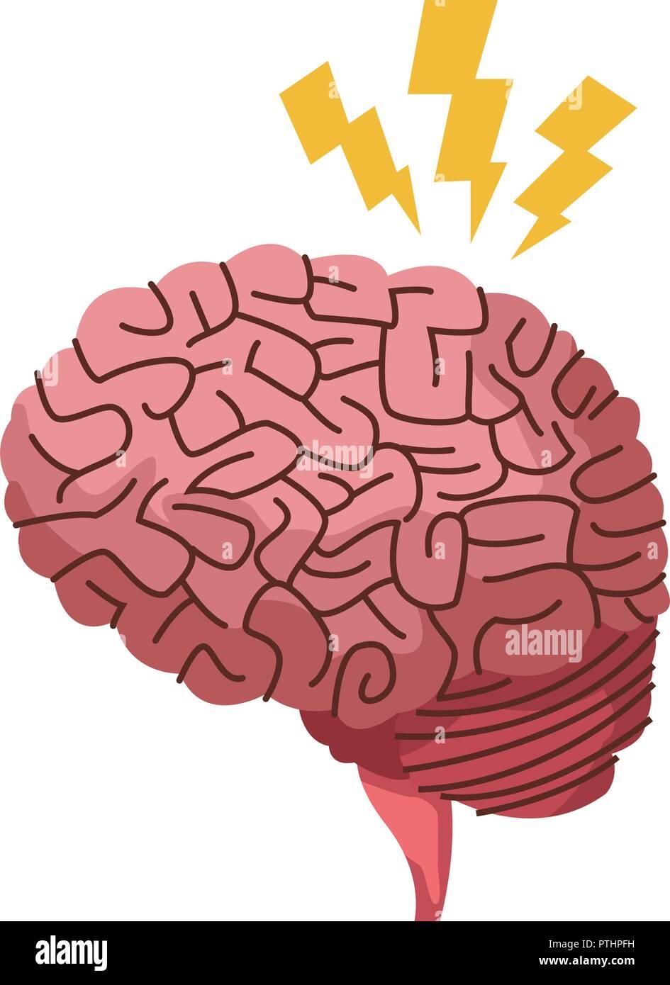 Alzheimer brain symbol - Stock Vector