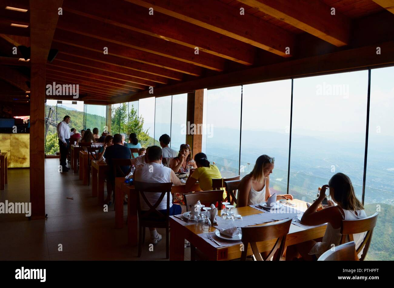 Ballkoni Dajtit restaurant offers amazing views of tirana after taking the djati express cable car albania - Stock Image